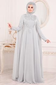 Tesettürlü Abiye Elbise - Pelerinli Gri Tesettür Abiye Elbise 20710GR - Thumbnail