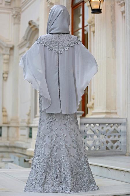 Tesettürlü Abiye Elbise - Pelerinli Gri Tesettür Abiye Elbise 4417GR