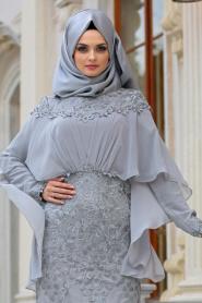 Tesettürlü Abiye Elbise - Pelerinli Gri Tesettür Abiye Elbise 4417GR - Thumbnail
