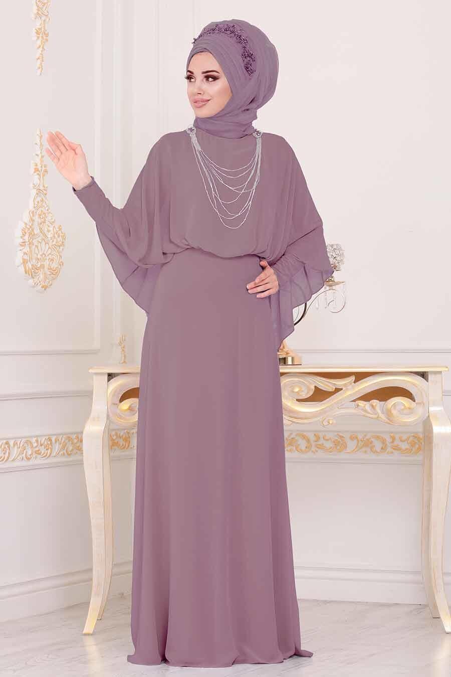 Tesettürlü Abiye Elbise - Pelerinli Gül Kurusu Tesettür Abiye Elbise 3829GK