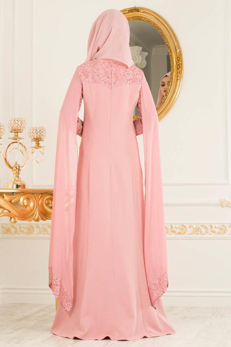 Tesettürlü Abiye Elbise - Pelerinli Gül Kurusu Tesettür Abiye Elbise 4045GK