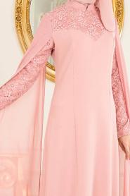 Tesettürlü Abiye Elbise - Pelerinli Gül Kurusu Tesettür Abiye Elbise 4045GK - Thumbnail