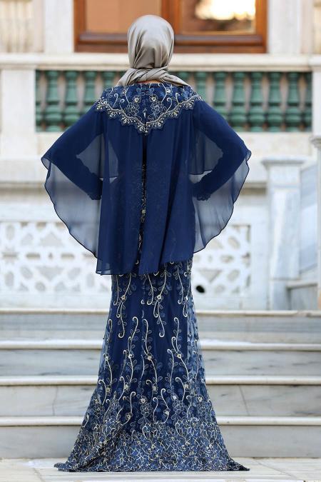 Tesettürlü Abiye Elbise - Pelerinli Lacivert Tesettür Abiye Elbise 4417L