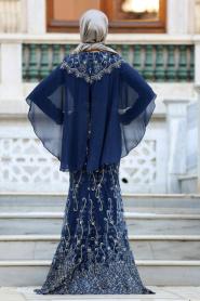 Tesettürlü Abiye Elbise - Pelerinli Lacivert Tesettür Abiye Elbise 4417L - Thumbnail