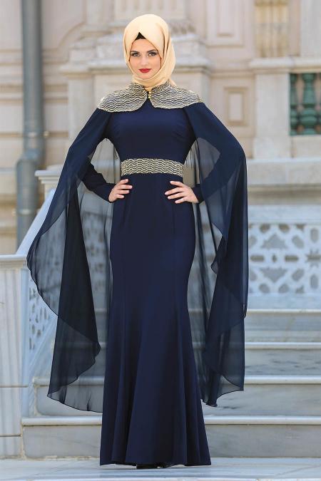Tesettürlü Abiye Elbise - Pelerinli Lacivert Tesettür Abiye Elbise 63611L