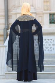 Tesettürlü Abiye Elbise - Pelerinli Lacivert Tesettür Abiye Elbise 63611L - Thumbnail