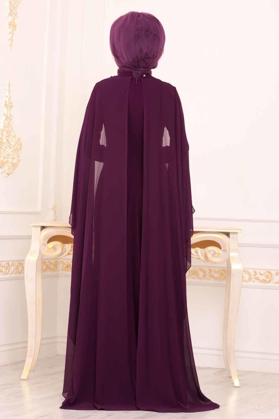 Tesettürlü Abiye Elbise - Pelerinli Mor Tesettür Abiye Elbise 3843MOR