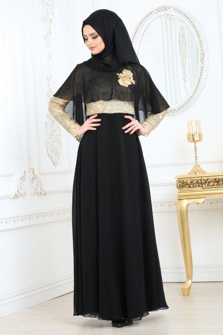 Tesettürlü Abiye Elbise - Pelerinli Siyah Tesettür Abiye Elbise 2713S