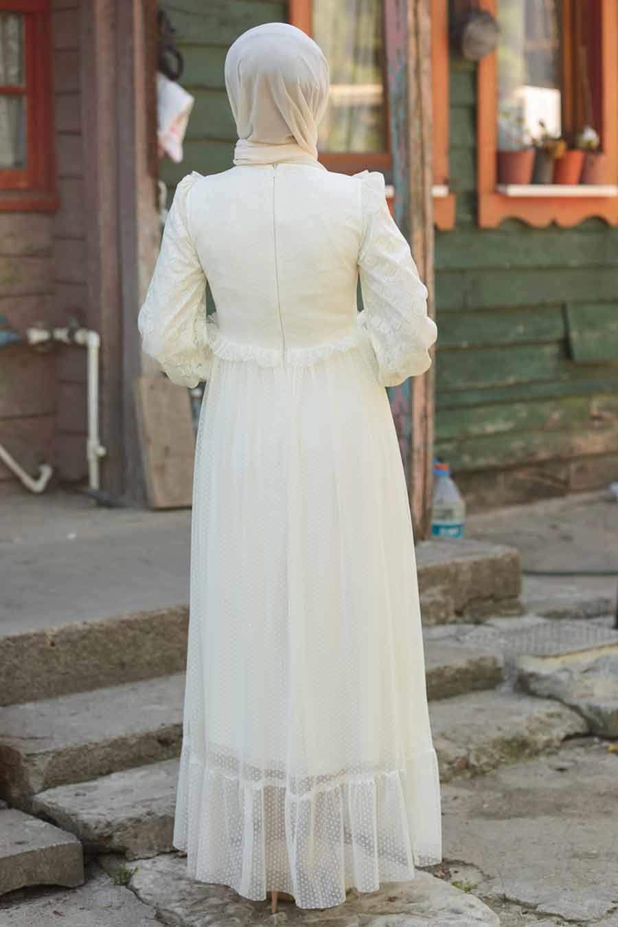 Tesettürlü Abiye Elbise - Puantiyeli Ekru Tesettür Abiye Elbise 38730E