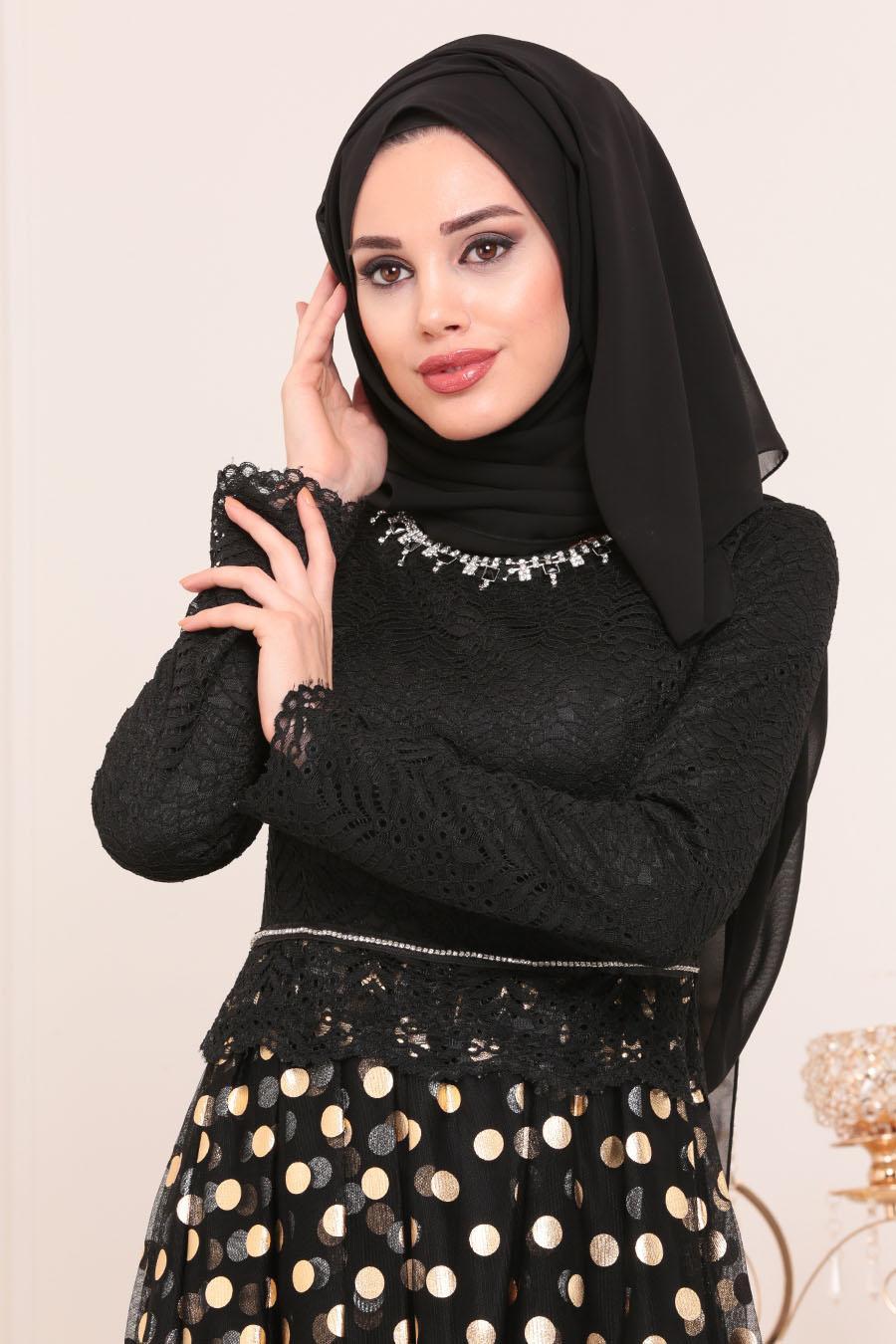 Tesettürlü Abiye Elbise - Puantiyeli Gold Tesettür Abiye Elbise 8115GOLD
