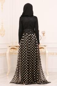 Tesettürlü Abiye Elbise - Puantiyeli Gold Tesettür Abiye Elbise 8115GOLD - Thumbnail