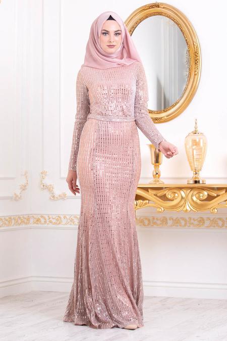 Tesettürlü Abiye Elbise Pul Detaylı Bakır Tesettürlü Abiye Elbise 3277BKR