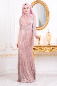 Tesettürlü Abiye Elbise Pul Detaylı Bakır Tesettürlü Abiye Elbise 3277BKR - Thumbnail