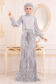 Tesettürlü Abiye Elbise - Pul Detaylı Gri Tesettür Abiye Elbise 45820GR - Thumbnail