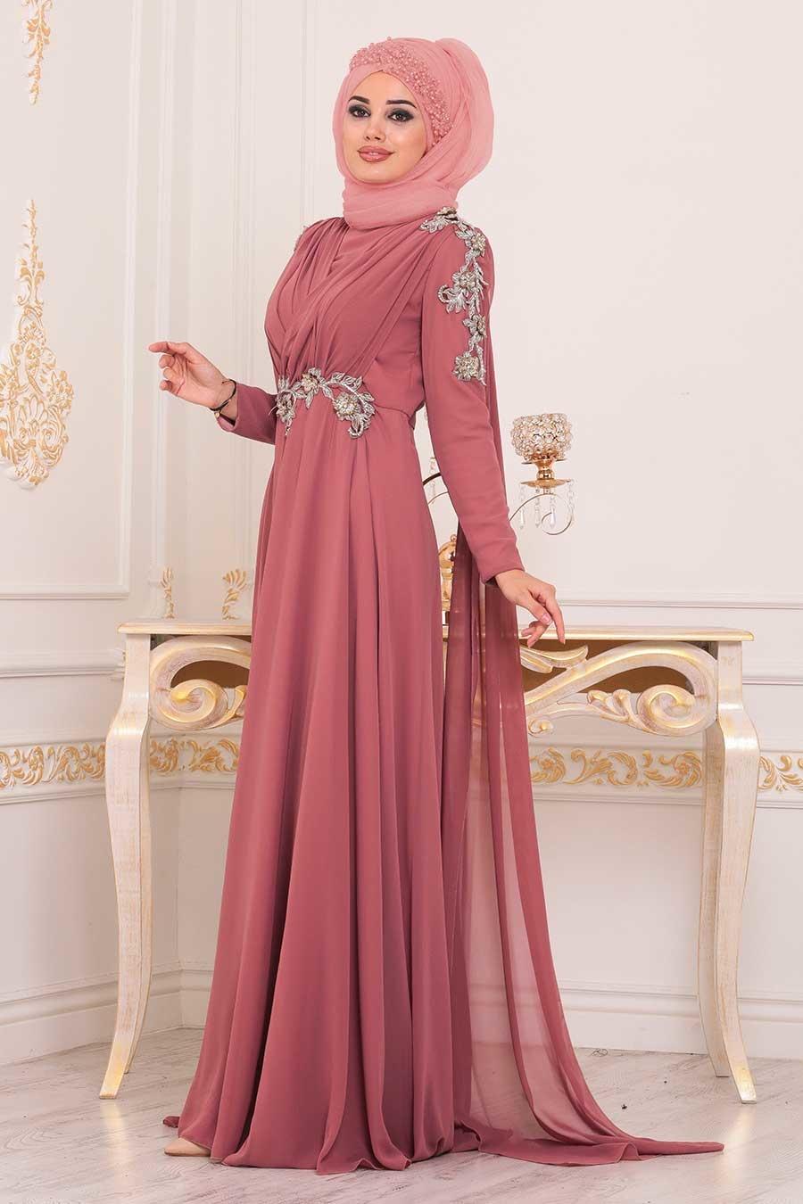 Tesettürlü Abiye Elbise - Pul Detaylı Gül Kurusu Tesettür Abiye Elbise 3937GK