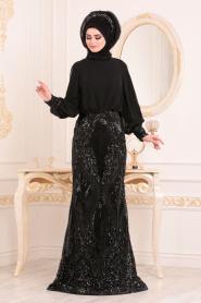 Tesettürlü Abiye Elbise - Pul Detaylı Siyah Tesettür Abiye Elbise 45820S - Thumbnail