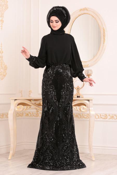Tesettürlü Abiye Elbise - Pul Detaylı Siyah Tesettür Abiye Elbise 45820S