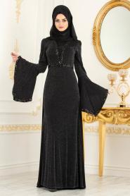 Tesettürlü Abiye Elbise - Pul Detaylı Volan Kol Simli Siyah Tesettür Abiye Elbise 3704S - Thumbnail