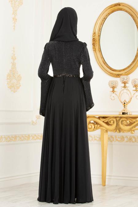 Tesettürlü Abiye Elbise - Pul Detaylı Volan Kol Simli Siyah Tesettür Abiye Elbise 3704S
