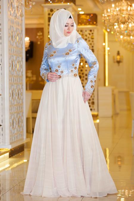 Tesettürlü Abiye Elbise - Pul Payet Çiçekli Bebe Mavisi Tesettür Abiye 4329BM