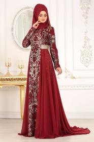 Tesettürlü Abiye Elbise - Pul Payet Detaylı Bordo Tesettür Abiye Elbise 7611BR - Thumbnail