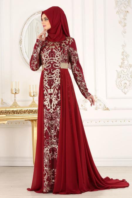 Tesettürlü Abiye Elbise - Pul Payet Detaylı Bordo Tesettür Abiye Elbise 7611BR