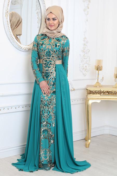 Tesettürlü Abiye Elbise - Pul Payet Detaylı Çağla Yeşili Tesettür Abiye Elbise 7611CY