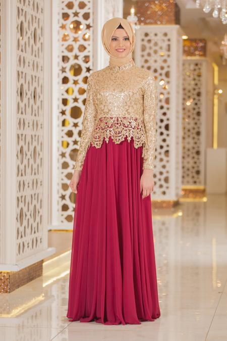 Tesettürlü Abiye Elbise - Pul Payet Detaylı Fuşya Tesettür Abiye Elbise 2162F