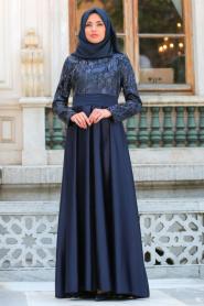 Tesettürlü Abiye Elbise - Pul Payet Detaylı Lacivert Tesettür Abiye Elbise 25593L - Thumbnail