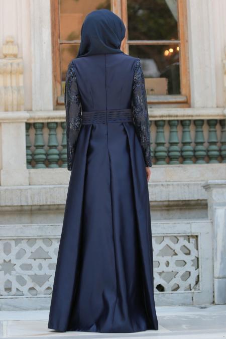 Tesettürlü Abiye Elbise - Pul Payet Detaylı Lacivert Tesettür Abiye Elbise 25593L