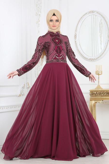 Tesettürlü Abiye Elbise - Pul Payet Detaylı Mürdüm Tesettür Abiye Elbise 2284MU