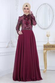 Tesettürlü Abiye Elbise - Pul Payet Detaylı Mürdüm Tesettür Abiye Elbise 2284MU - Thumbnail