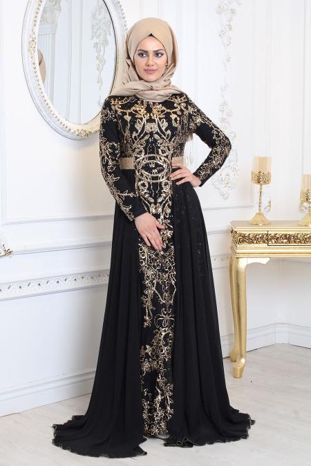 Tesettürlü Abiye Elbise - Pul Payet Detaylı Siyah Tesettür Abiye Elbise 7611S