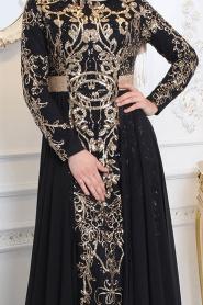 Tesettürlü Abiye Elbise - Pul Payet Detaylı Siyah Tesettür Abiye Elbise 7611S - Thumbnail