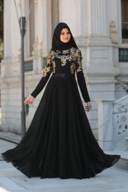 Tesettürlü Abiye Elbise - Pul Payet İşlemeli Siyah Tesettür Abiye Elbise 7586S - Thumbnail