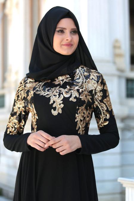 Tesettürlü Abiye Elbise - Pul Payet İşlemeli Siyah Tesettür Abiye Elbise 7586S