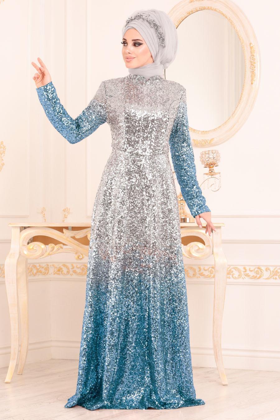 Tesettürlü Abiye Elbise - Pul Payetli Bebek Mavisi Tesettür Abiye Elbise 8576BM
