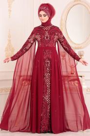 Tesettürlü Abiye Elbise - Pul Payetli Bordo Tesettür Abiye Elbise 85130BR - Thumbnail