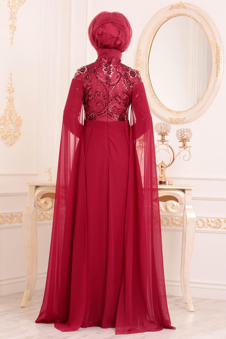 Tesettürlü Abiye Elbise - Pul Payetli Bordo Tesettür Abiye Elbise 85130BR