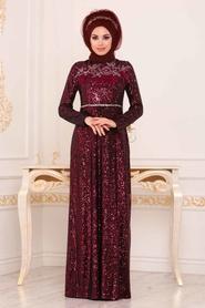 Tesettürlü Abiye Elbise - Pul Payetli Bordo Tesettür Abiye Elbise 86010BR - Thumbnail