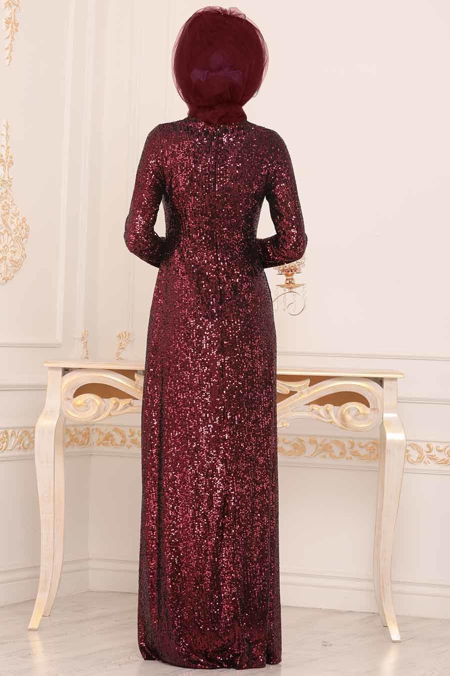 Tesettürlü Abiye Elbise - Pul Payetli Bordo Tesettür Abiye Elbise 86010BR