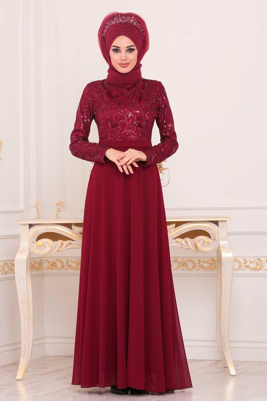 Tesettürlü Abiye Elbise - Pul Payetli Bordo Tesettür Abiye Elbise 8677BR