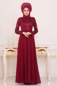 Tesettürlü Abiye Elbise - Pul Payetli Bordo Tesettür Abiye Elbise 8677BR - Thumbnail
