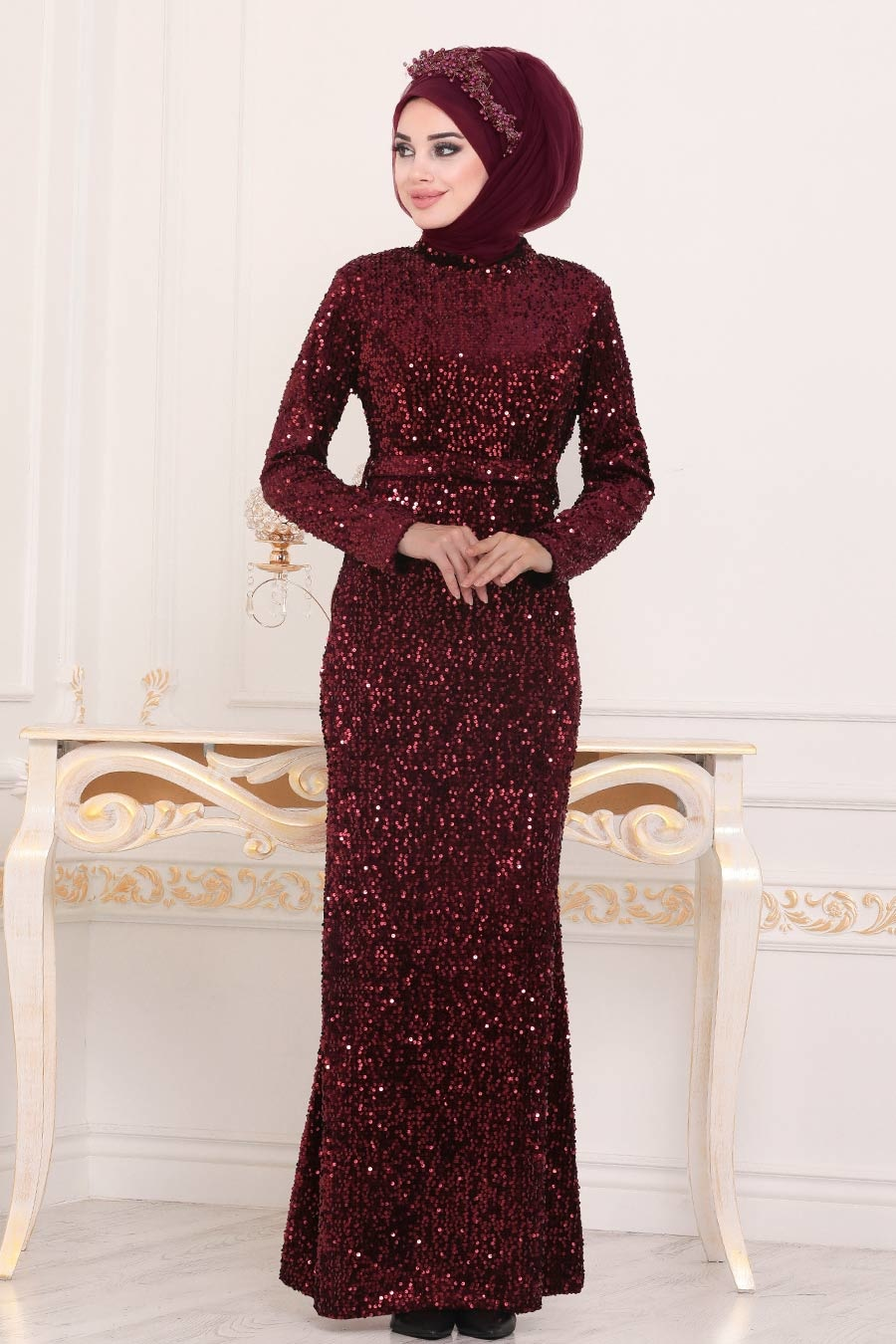 Tesettürlü Abiye Elbise - Pul Payetli Bordo Tesettür Abiye Elbise 8727BR