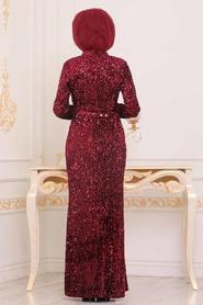 Tesettürlü Abiye Elbise - Pul Payetli Bordo Tesettür Abiye Elbise 8727BR - Thumbnail