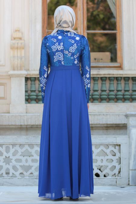 Tesettürlü Abiye Elbise - Pul Payetli Çiçek Detaylı Sax Mavisi Tesettür Abiye Elbise 7694SX