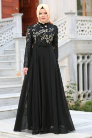 Tesettürlü Abiye Elbise - Pul Payetli Çiçek Detaylı Siyah Tesettür Abiye Elbise 7694S - Thumbnail