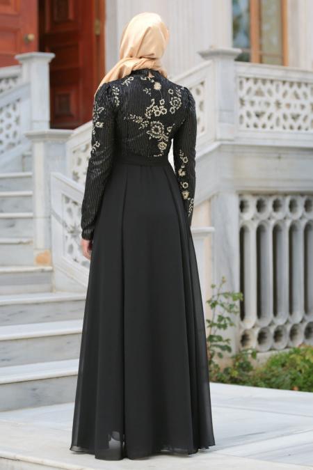 Tesettürlü Abiye Elbise - Pul Payetli Çiçek Detaylı Siyah Tesettür Abiye Elbise 7694S