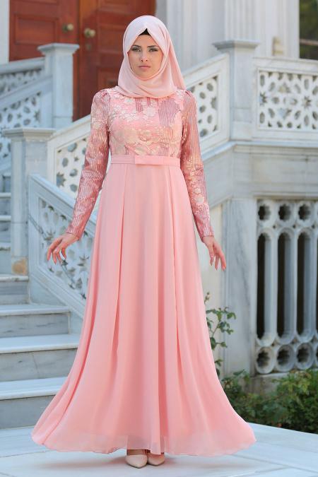 Tesettürlü Abiye Elbise - Pul Payetli Çiçek Detaylı Somon Tesettür Abiye Elbise 7694SMN