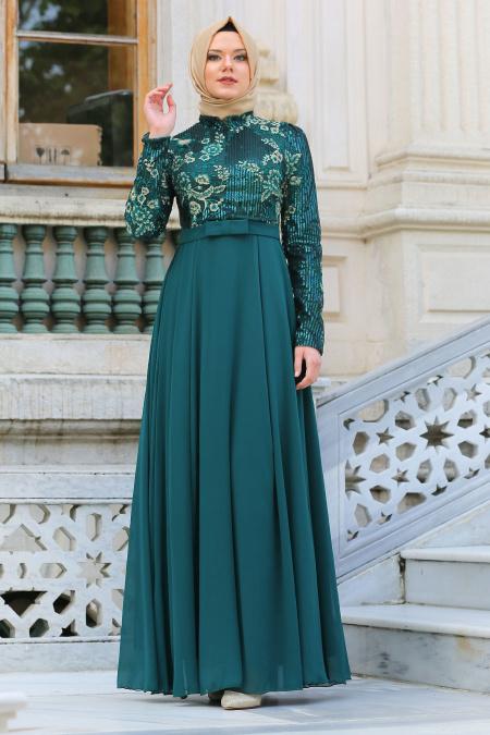 Tesettürlü Abiye Elbise - Pul Payetli Çiçek Detaylı Yeşil Tesettür Abiye Elbise 7694Y